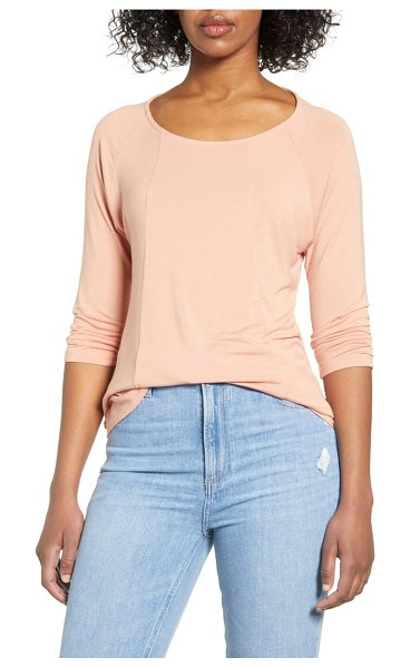 Liverpool ballet neck seamed top in coral
