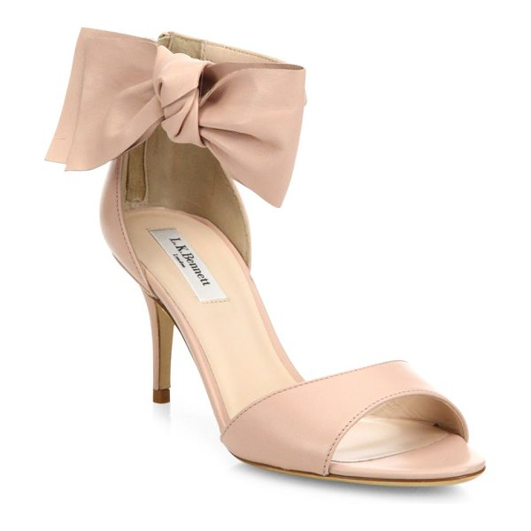 L.K. Bennett agata leather bow sandals in pink - Feminine leather sandal with asymmetric bow detail....