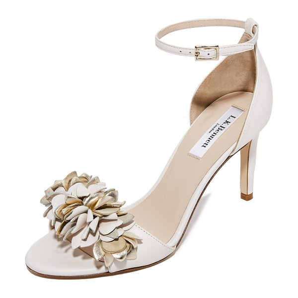 L.K. Bennett claudie sandals in cream/gold - Metallic flower appliqués cover the vamp on these...
