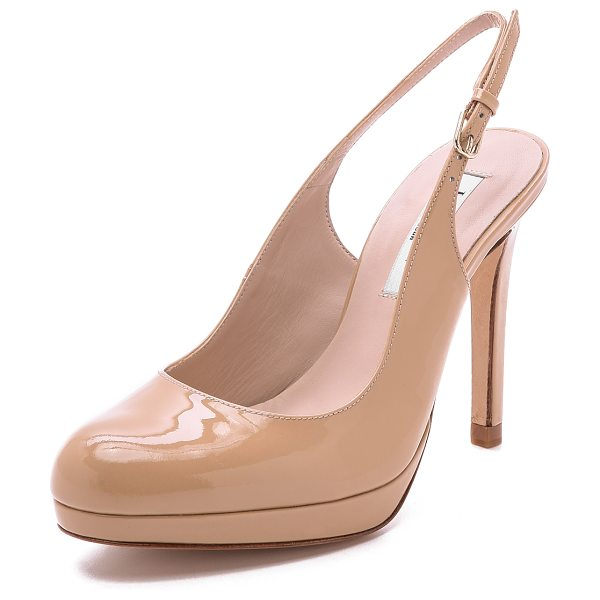L.K. Bennett Clemmie platform slingback in taupe - A bump toe softens the silhouette of patent leather L.K....