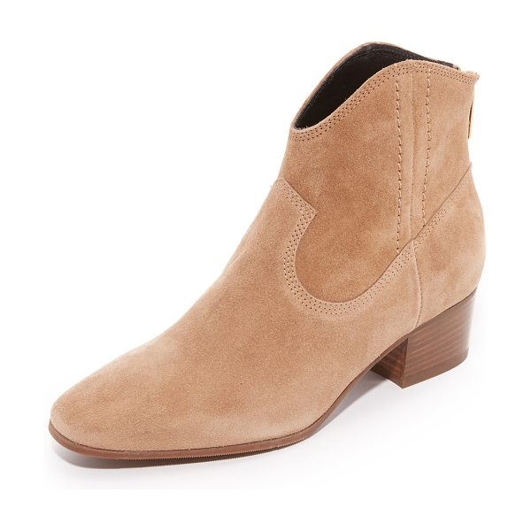 L.K. Bennett dylan booties in natural - Topstitching accents the suede panels on these...