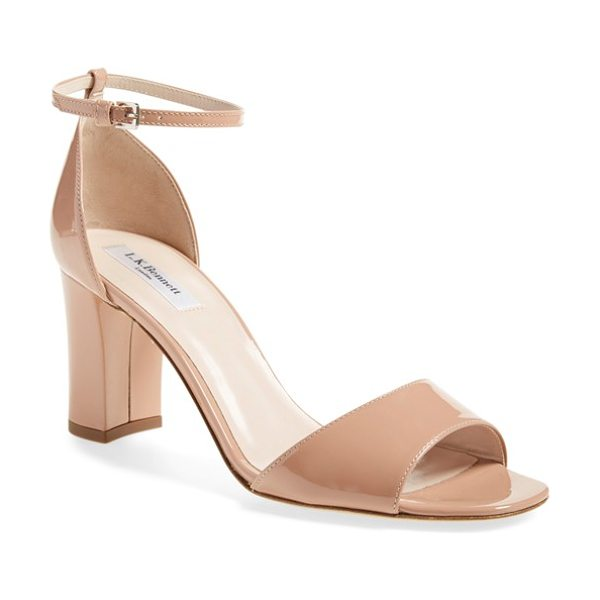 L.K. Bennett 'helena' ankle strap block heel sandal in fawn patent - Glossy patent leather defines a chic, Italian-made...