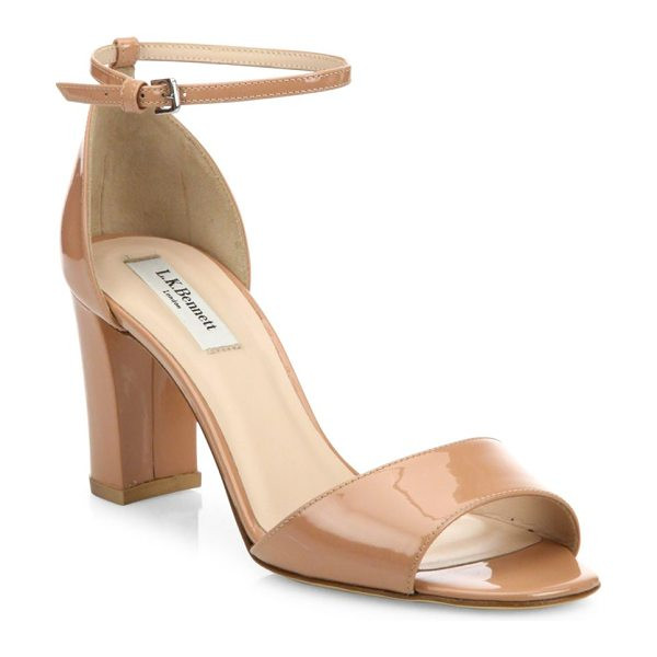 L.K. Bennett helena patent leather block heel sandals in fawn - Patent ankle-strap sandal with peep toe and block heel....