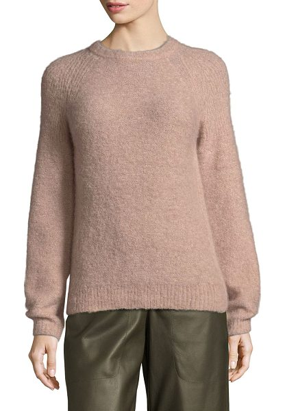 L.K. Bennett jolie crewneck sweater in pin chalk rose - Crewneck sweater ribbed at the shoulders. Crewneck. Long...