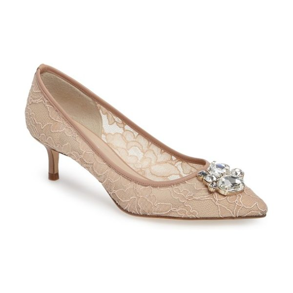 L.K. Bennett juliet embellished mesh pump in pink/ marshmallow/ trench - A cluster of multihued crystals graces the toe of a...