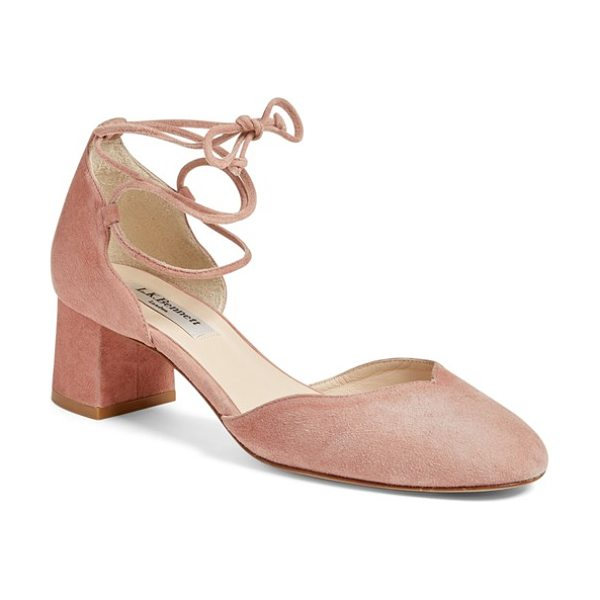 L.K. Bennett 'lali' lace-up pump in blush - Slender straps lace up the ankle of a lush suede d'Orsay...