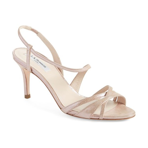 L.K. Bennett lourdes lizard embossed metallic leather sandal in pink rose shimmer fabric - Svelte straps curve around the foot in this stunning...
