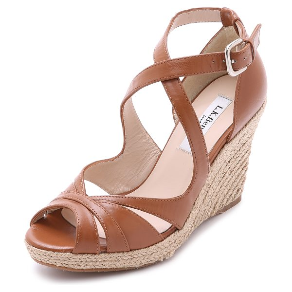 L.K. Bennett Maggie espadrille wedges in tan - Slender straps form elegant curves on these L.K. Bennett...