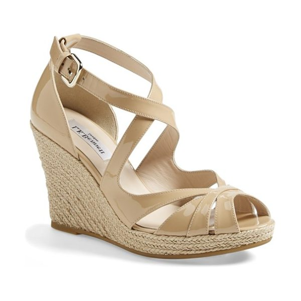 L.K. Bennett maggie peep toe wedge sandal in taupe patent - The Maggie sandal perfectly balances vintage and...