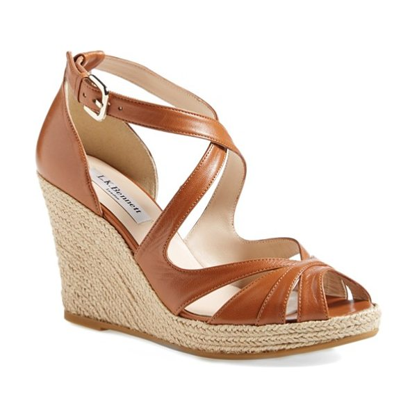 L.K. Bennett maggie peep toe wedge sandal in tan - The Maggie sandal perfectly balances vintage and...