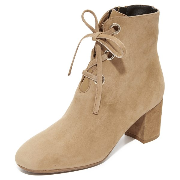 L.K. Bennett mollie booties in camel - Polished grommets trim the scalloped front on these...