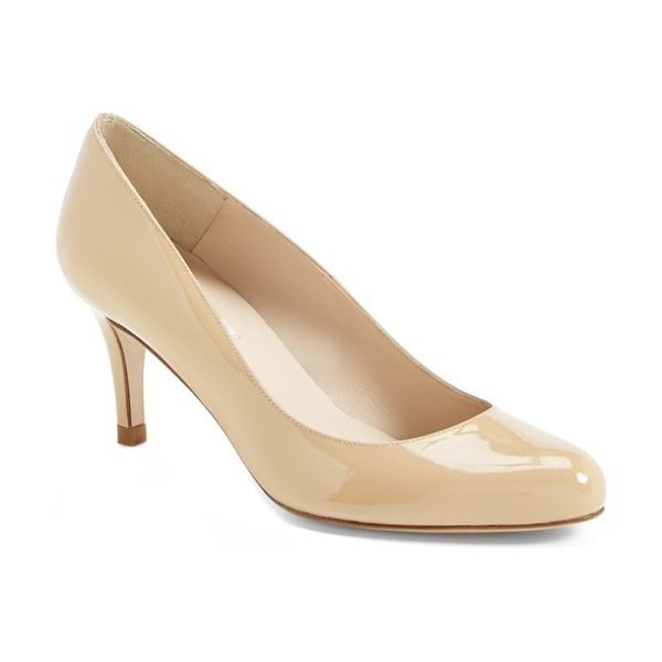L.K. Bennett 'samira' pump in taupe patent - Pristine leather highlights the clean, classic lines of...
