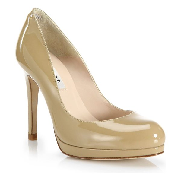 L.K. Bennett sledge patent leather pumps in tan - Glossy patent leather pump shaped with round toe....