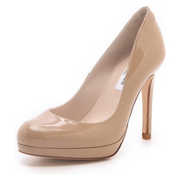 L.K. Bennett Sledge patent platform pumps in taupe - With a ladylike silhouette and a glossy finish, these...