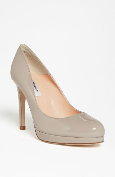 L.K. Bennett sledge pump in clay patent - A perfectly-sized platform lends elegant height to a...
