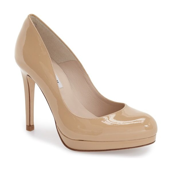 L.K. BENNETT 'sledge' pump in taupe patent - A perfectly sized platform brings elegant height to a...