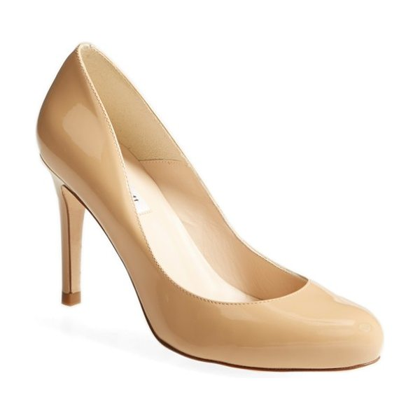 L.K. Bennett 'stila' patent pump in taupe - A slim, wrapped heel creates elegant height beneath a...