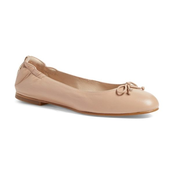 L.K. Bennett 'thea' ballet flat in beige trech leather - A delicate bow adorns the rounded toe of a charming...