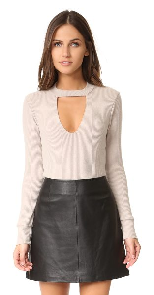 LnA bardot long sleeve sweater in oatmeal - A V-shaped cutout accents the front of this soft,...
