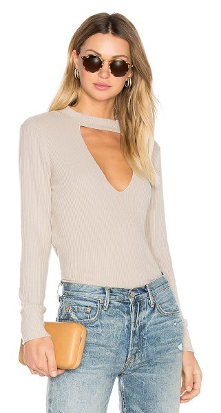 LnA Bardot Long Sleeve Tee in beige - Modal blend. Hand wash cold. Front cut-out. Rib knit...