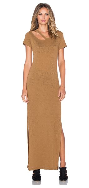 LnA Desert crew maxi dress in tan - Cotton blend. Unlined. Neckline cut-out. Side seam...