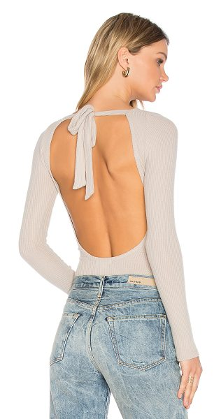 LnA Tie Back Bodysuit in beige - Modal blend. Back tie closure with open back. Rib knit...