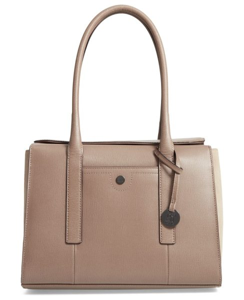 Lodis business chic paula rfid-protected coated leather & suede brief shoulder bag in taupe - Make your daily commute just a little easier and more...