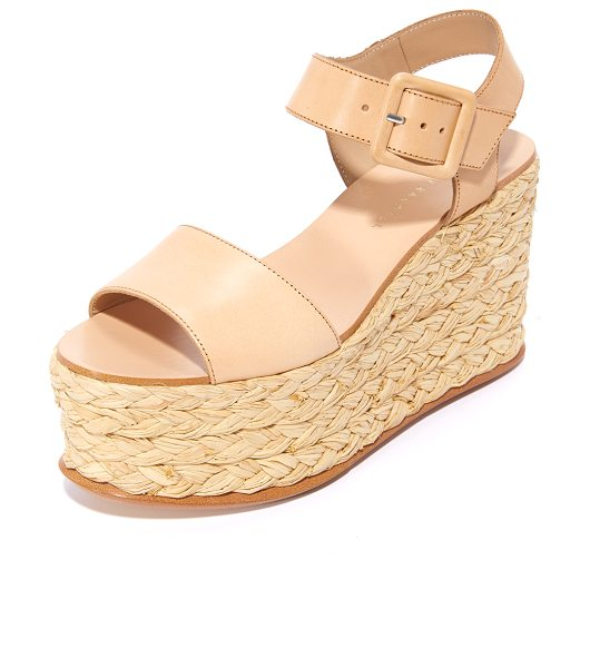 Loeffler Randall alessa flatform sandals in natural/natural - Braided raffia covers the inset platform on these smooth...
