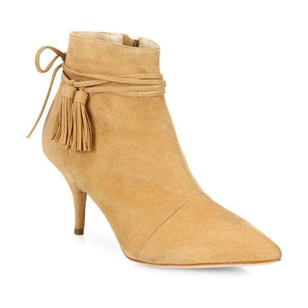 Loeffler Randall angie suede booties in almond - Tasseled ties wrap pointy suede kitten-heel bootie....