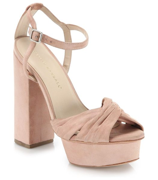 Loeffler Randall Arbella suede twist platform sandals in blush - Lush suede platform sandals with twisted toe...
