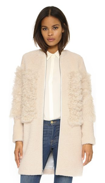 LOEFFLER RANDALL Blocked shearling coat - A boxy Loeffler Randall coat in a tonal mix of long and...