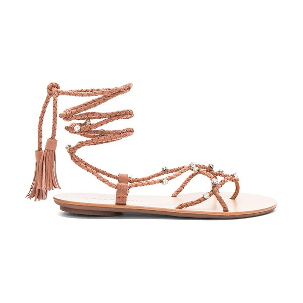 Loeffler Randall Bo Sandal in deep blush - Braided suede upper with rubber sole. Laced front with...