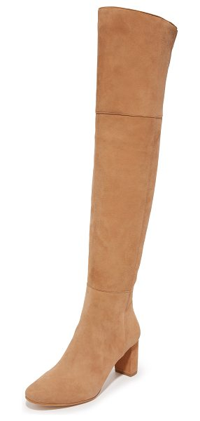 Loeffler Randall brett over the knee boots in dark camel - A chunky heel lends sturdy lift to these sexy, over the...