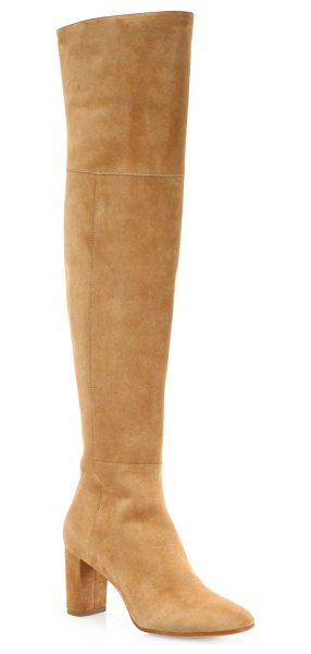 Loeffler Randall brett suede over-the-knee block-heel boots in dark camel - Luxe suede construction shapes statement block-heel...