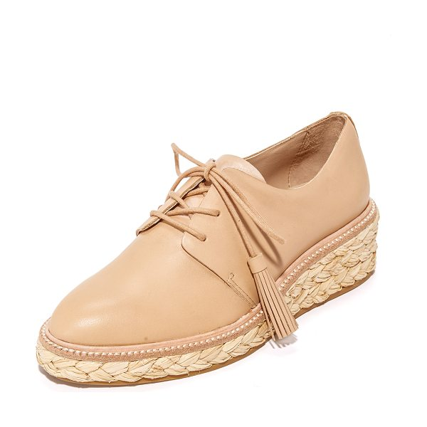 LOEFFLER RANDALL callie platform oxfords - A braided raffia platform adds natural appeal to these...