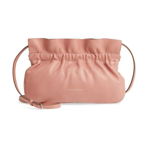 Loeffler Randall carrie ruffle frame clutch in pink - A graceful ruffle tops the relaxed silhouette of a chic...