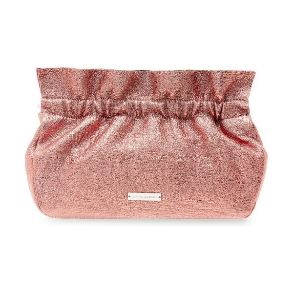 Loeffler Randall carrie ruffle frame leather clutch in rose quartz - Ruffled trim accentuates eye-catching metallic hue on...