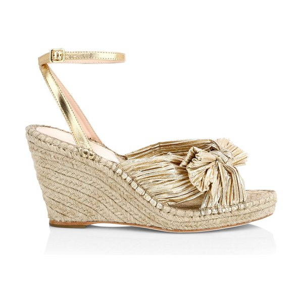 Loeffler Randall charley knotted metallic leather espadrille wedge sandals in gold