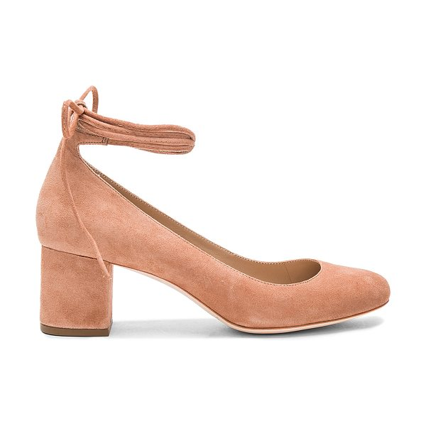 Loeffler Randall Clara Heel in rose - Suede upper with leather sole. Wrap ankle with tie...
