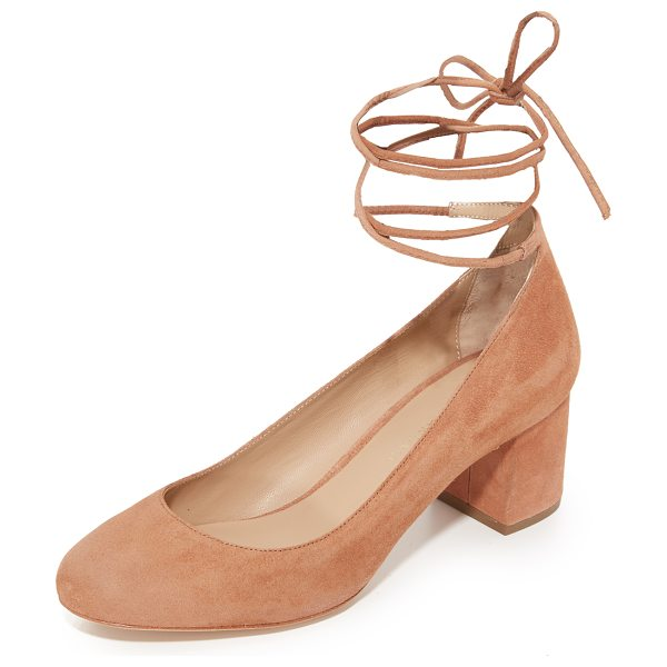 Loeffler Randall clara wrap pumps in deep blush - Slender ties wrap around the ankle on these suede...