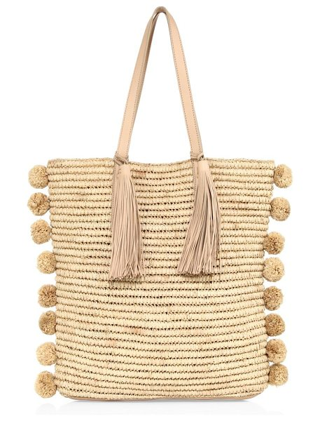 Loeffler Randall cruise straw tote in natural - Breezy straw tote accented with pom-poms and tassels....