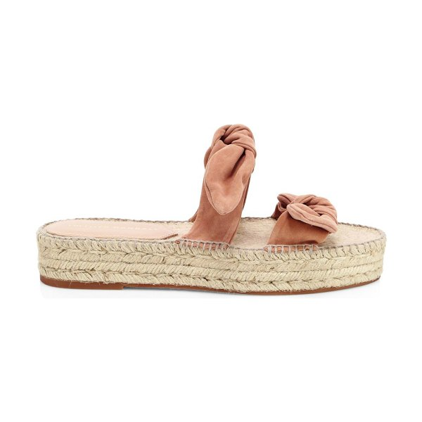 Loeffler Randall daisy two bow suede espadrille platform sandals in coral