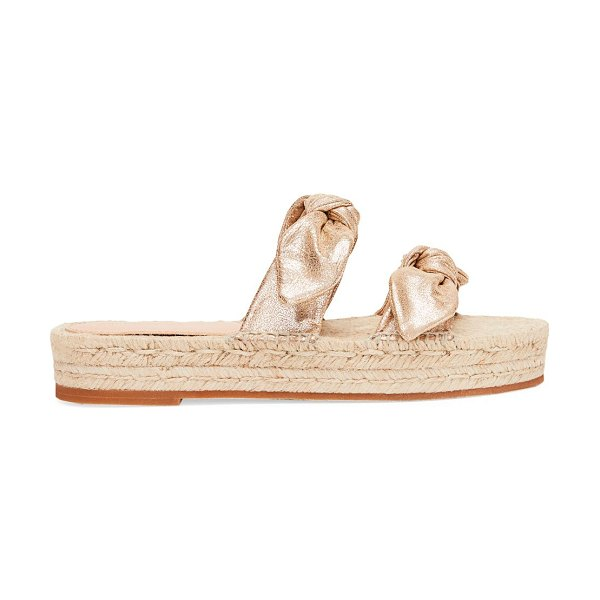 Loeffler Randall daisy two bow leather espadrille platform sandals in champagne