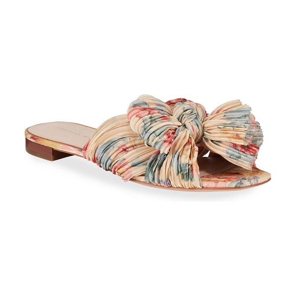 Loeffler Randall Daphne Knotted Bow Slide Sandals in butter multi