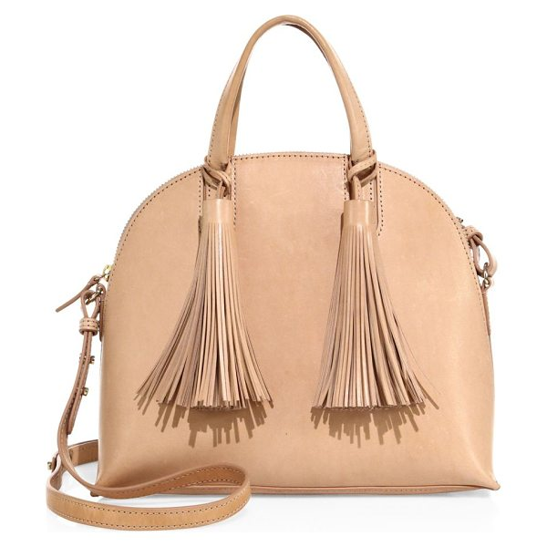 LOEFFLER RANDALL dome leather satchel in natural - Dome-shaped leather satchel with bold fringe tassels....