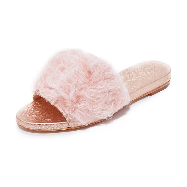 Loeffler Randall domino shearling slides in pale pink/rose gold - Soft shearling and metallic leather add a bold update to...