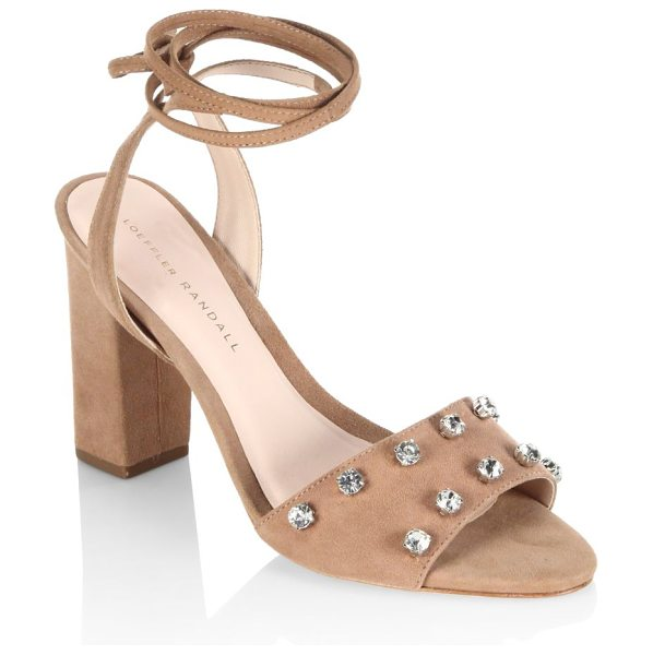 Loeffler Randall elayna studded suede ankle-wrap sandals in deep blush - Chic sandals with alluring rhinestone embellishments....