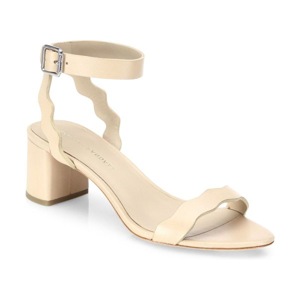 Loeffler Randall emi scallop leather block heel sandals in wheat - Scalloped edges elevate leather ankle-strap sandal....