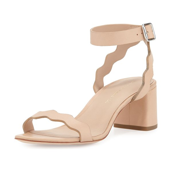 LOEFFLER RANDALL Emi Wavy Leather Ankle-Wrap Sandal in neutral - Loeffler Randall wavy-cut matte vachetta leather sandal....