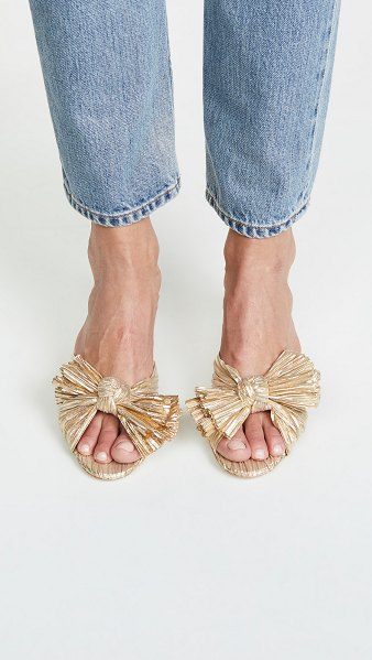 Loeffler Randall emilia pleated knot mules in gold